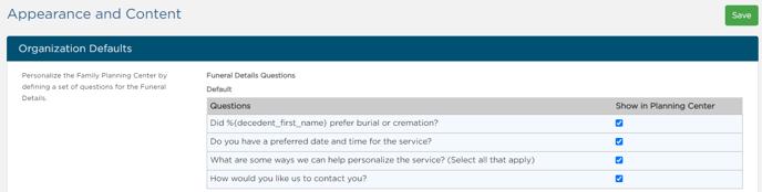 Planning Center default questions