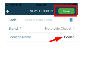 Location name and then save