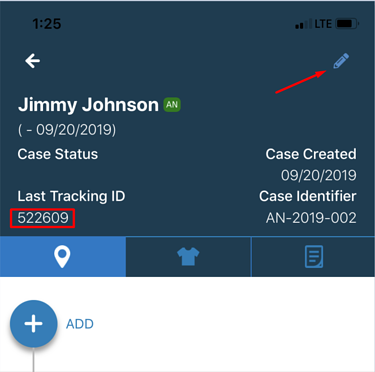 Pencil icon to add new tracking ID