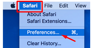 Arrow pointing to preferences