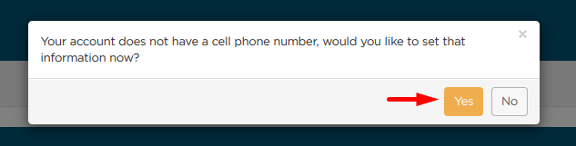 Would you like to add cell phone number? Yes or no
