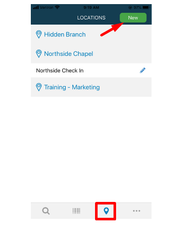 pin drop icon and select new to add location