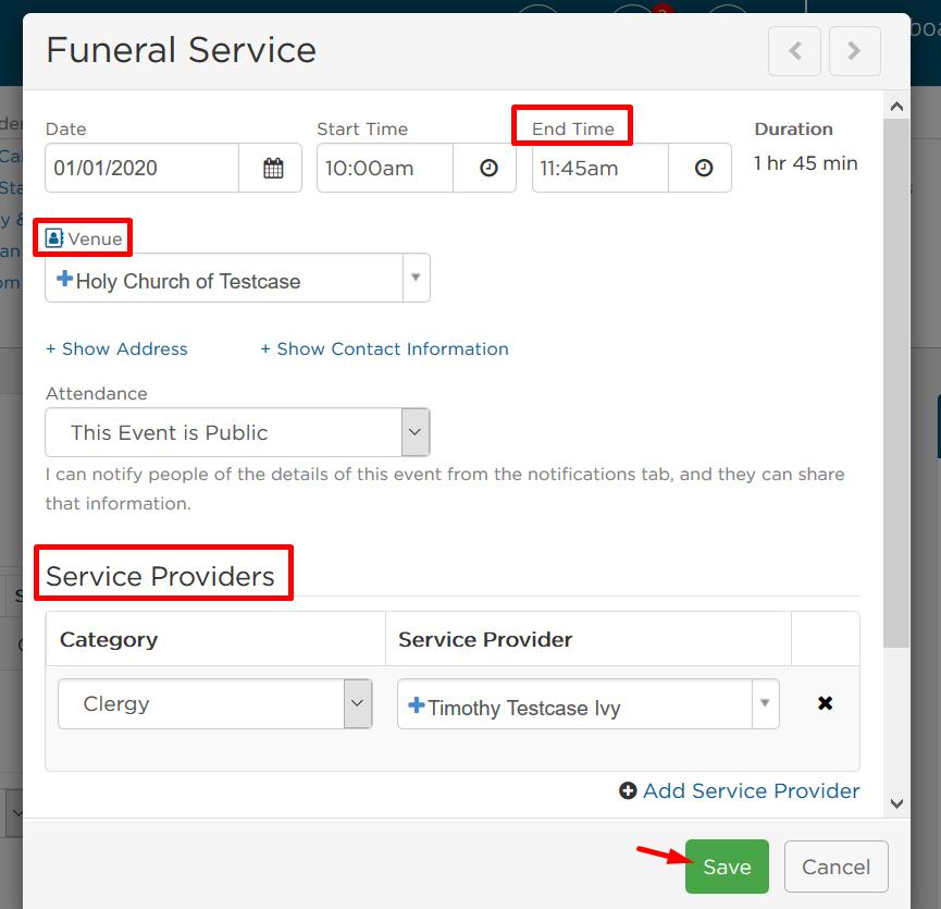 Funeral service details