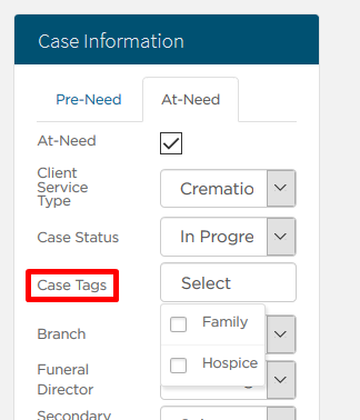 Case tags dropdown
