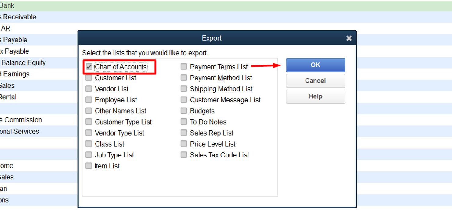 Export Quickbooks Chart Of Accounts