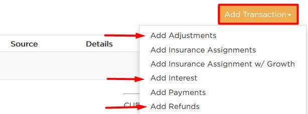 Options under add transaction