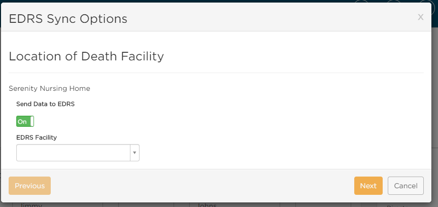 Select facility in Passare to connect to EDRS